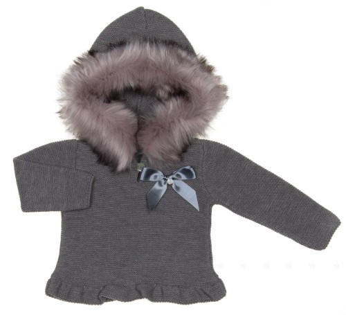Gray Knitted Sweater With Synthetic Fur Hood & Satin Bow