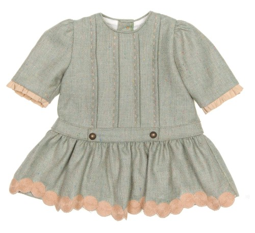 Green & Beige Cheviot Dress