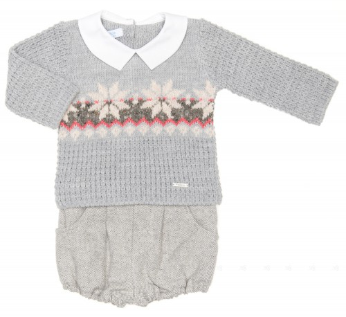 Baby Boys Gray Knitted Sweater & Tweed Knickers Set