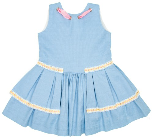 Pastel Blue Layered Dress with Pink Grosgrain Ribbon