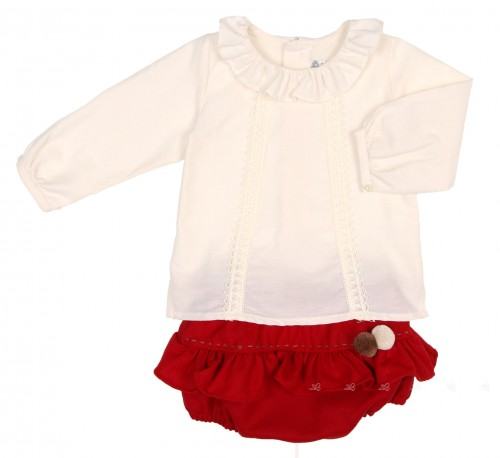 Baby Ivory Blouse & Red Frilly Knickers Set