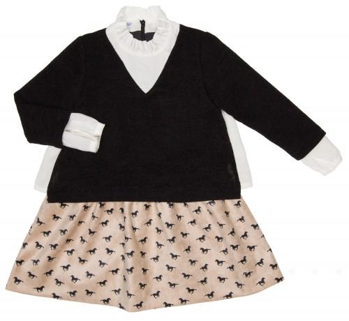 Girls Black Jersey Sweater & Beige Horse Skirt Dress