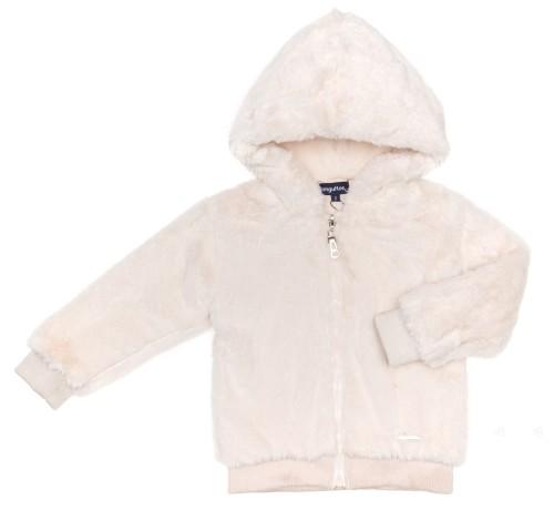 Girls Ivory Plush Hooded Jacket