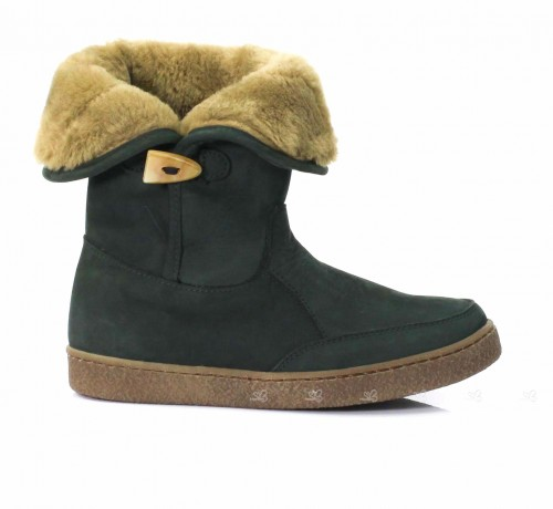 Dark Green Nubuck Leather Boots