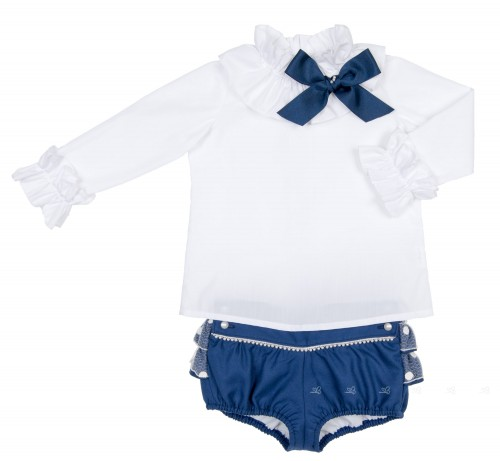 White Blouse & Blue Frilly Short with Pearls Set