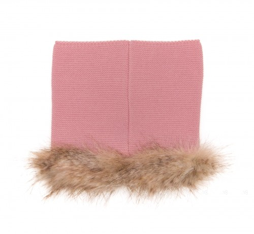 Blush Pink Knitted & Synthetic Fur Snood