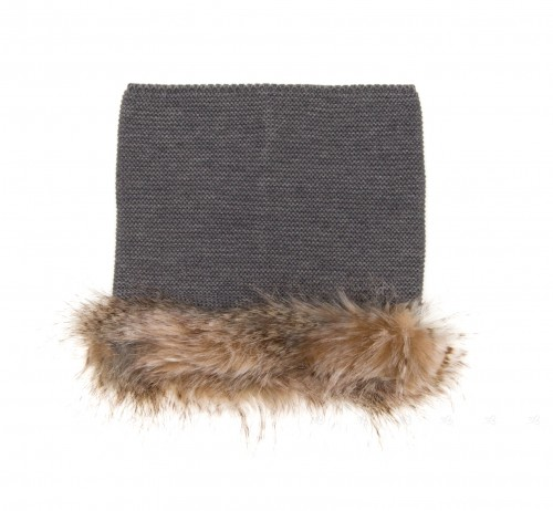 Gray Knitted & Synthetic Fur Snood