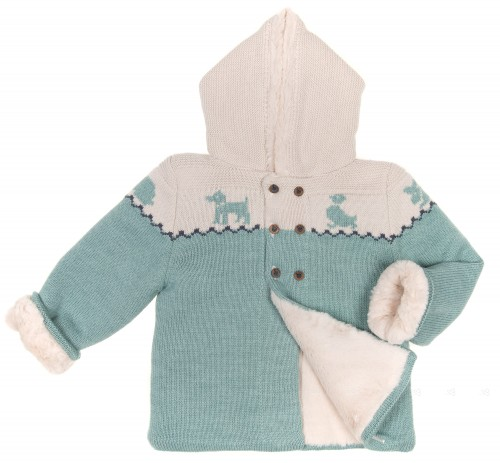 Mint & Beige Knitted Pram Coat with Synthetic Fur Lining