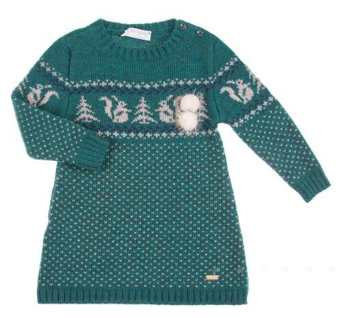 Green & Beige Knitted Jacquard Squirrel Print Dress