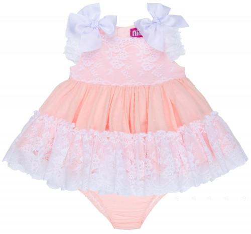Nini Moda Infantil Jesusito Bebé 2 Piezas Plumeti Rosa Pastel & Encaje Blanco