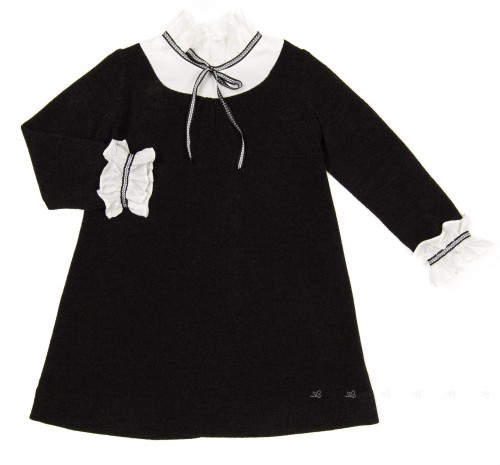 Girls Black Jersey Dress with White Collar & Cuffs