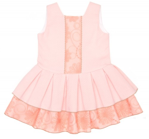 Pastel Pink Cotton & Lace Structured Dress