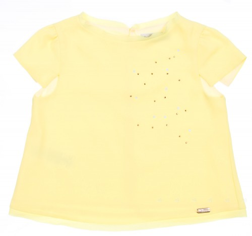 Girls Yellow Chiffon Blouse with Diamanté Gems