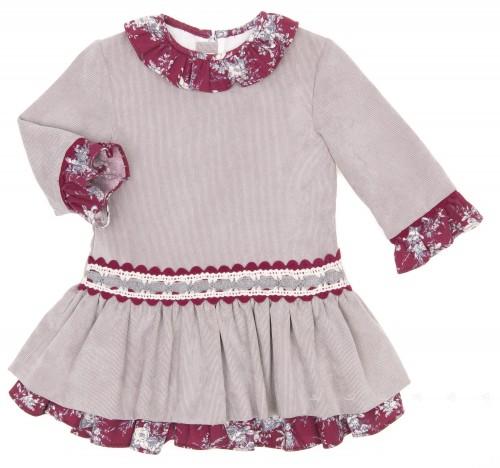Gray & Burgundy Ruffle Layered Cordury Dress