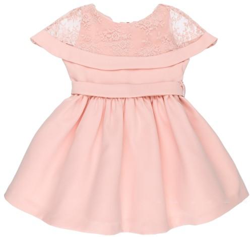Vestido Niña Bioelástico Rosa con Encaje Floral Superpuesto