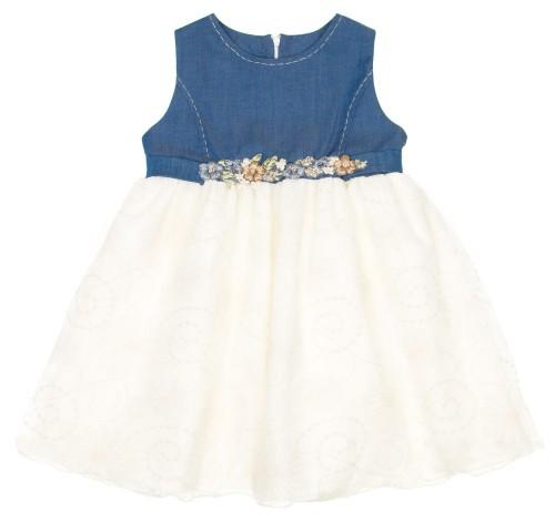 Girls Denim & Ivory Dress