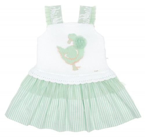 White & Green Cotton Knitted Goose Dress With Striped Skirt