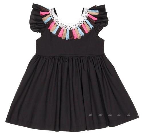 Girls Black Dress with Crochet Neckline & Colourful Fringes