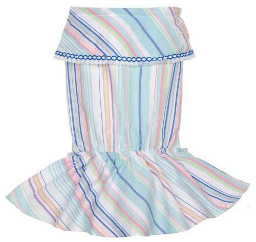 Girls Blue & Pink Striped Sun Playsuit