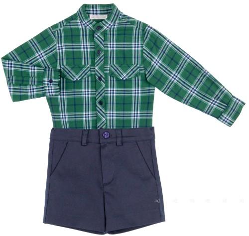 Dolce Petit Conjunto Niño Camisa Tartán Verde & Short Marino