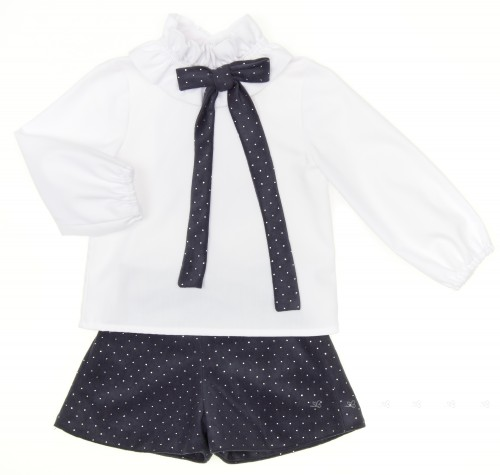 White Cotton Blouse & Dark Blue Silver Polka Dot Short Set