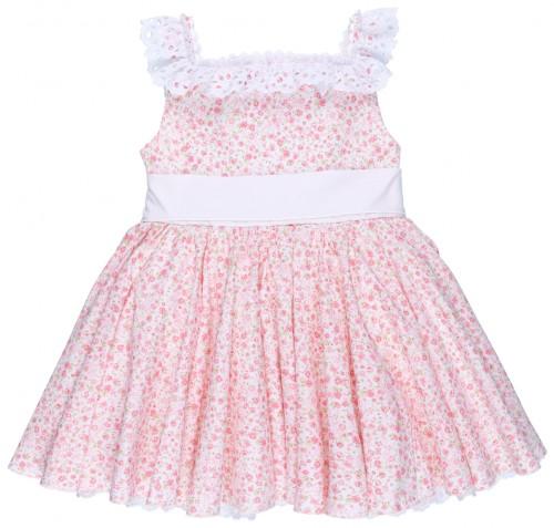 Badum Badero Vestido Niña Vuelo Estampado Liberty Rosa & Maxi Lazada Blanca