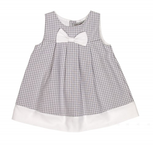 Light Gray & White Check Cotton Dress with Bow