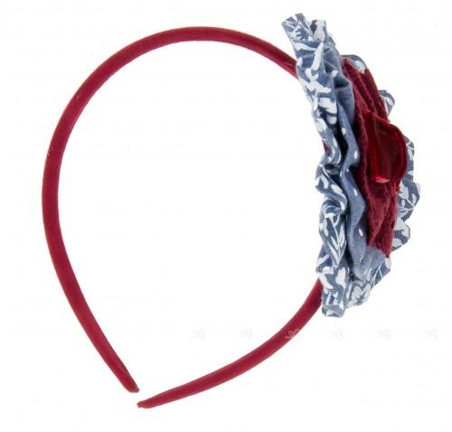 Blue & Burgundy Hairband with Velvet Bow