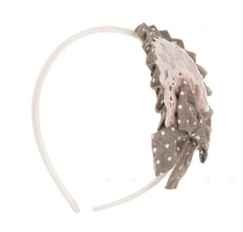 Dusky Pink Jacquard Hairband With Polka Dot Bow
