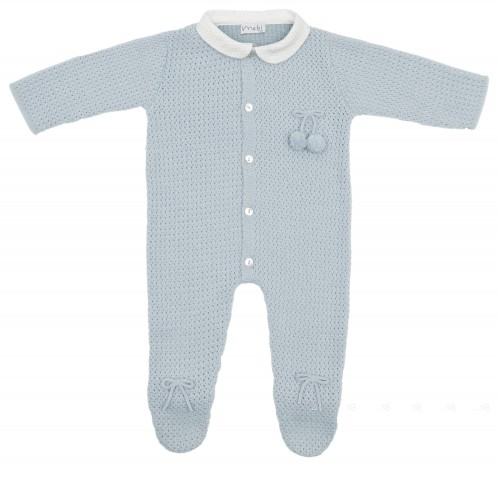 Pale Blue Cosy Knitted Babygrow With Rounded Collar
