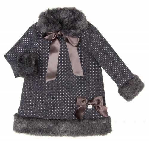Blue & Silver Polka Dot Dress with Removable Synthetic Fur Collar