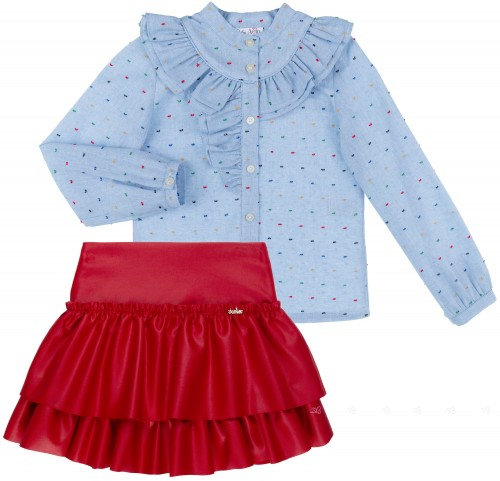 Dolce Petit Girls Blue Cotton Shirt & Red Ruffle Skirt Set