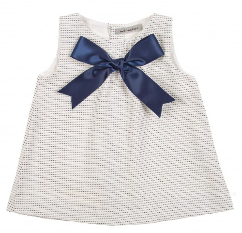 Navy & White Dress with Satin Bow