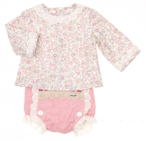 Baby Floral Blouse & Pink Cheviot Short Set