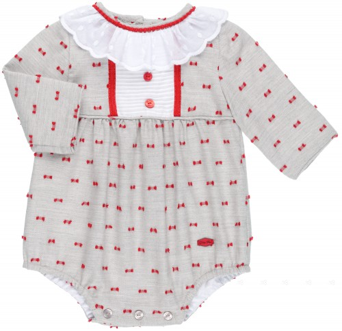 Dolce Petit Pelele Bebé Gris & Plumeti Rojo