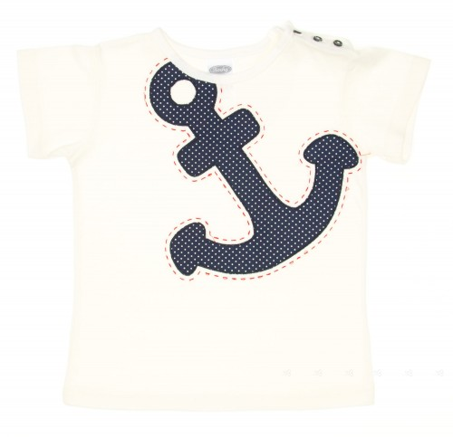 Boys White & Blue Sailor Anchor T-Shirt