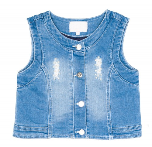 Girls Blue Denim Sleeveless Jacket With Pearls Apliqué