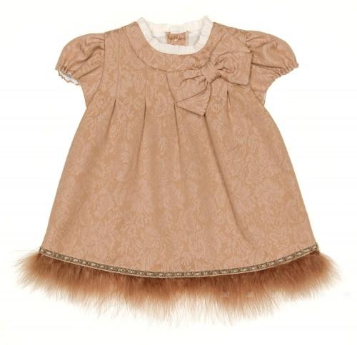 Baby Dark Beige Jacquard Dress with feather Hem