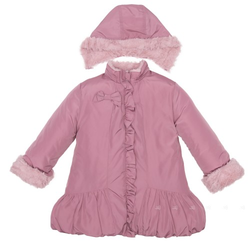 Girls Dusky Pink Synthetic Fur Lined Coat