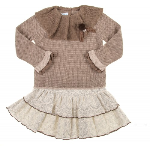Beige & Brown Knitted Sweater & Lace Ruffle Skirt Set