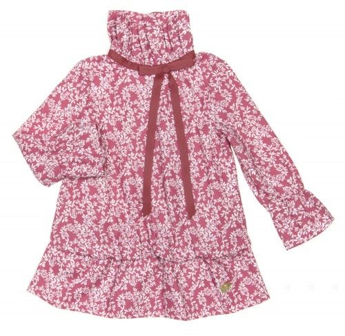 Burgundy Pink & Ivory Floral Dress with Frill Collar