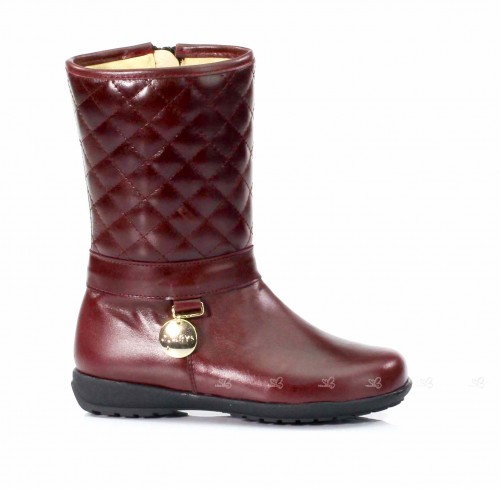 Burghundy Quilted Leather Boots