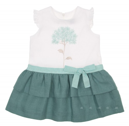 White & Green Ruffle Dress with Tree print
