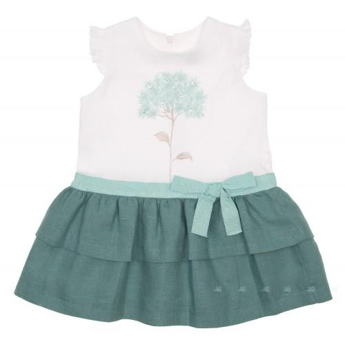 White & Green Ruffle Dress with Tree print