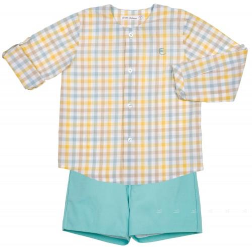 Conjunto Niño Camisa Cuadros Short Verde