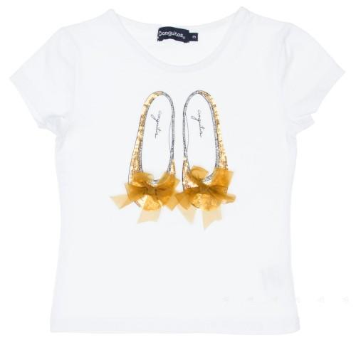 White Cotton Ballet Pumps T-Shirt