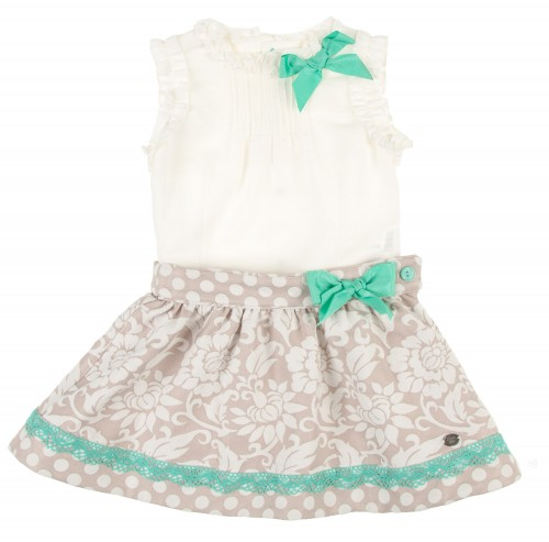 Ivory Top & Beige Jacquard Skirt with Aqua Green Bows