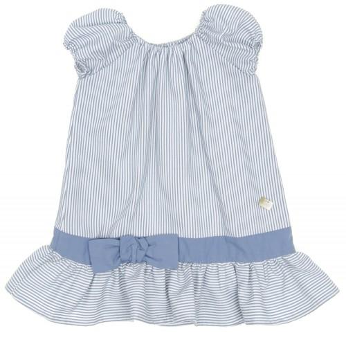 Blue Striped Dress with ruffle hem