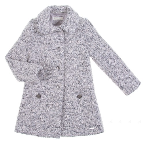 Girls Grey Melange Wool & Alpaca Coat