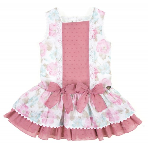 Pastel Floral Polka Dot Cotton Dress with Ruffle Skirt